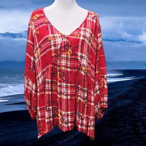 Babydoll Blouse 3/4 Sleeve Pullover Plaid Peasant